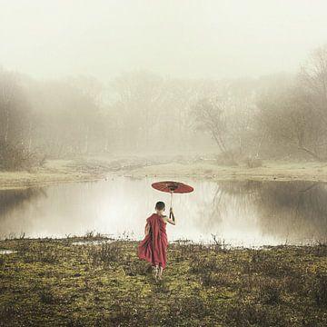 Landschap met Oosterse jongen met paraplu