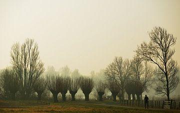 Een jogger op een winter ochtend met mist van Georges Hoeberechts