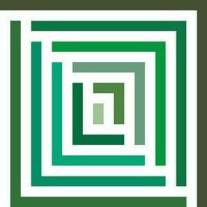 Abstract in groene tinten en wit van Maurice Dawson