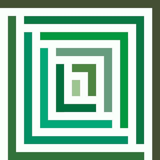 Abstract in groene tinten en wit