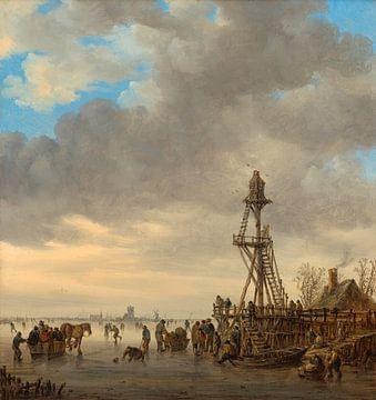 Eisszene in der Nähe eines hölzernen Beobachtungsturms, Jan van Goyen