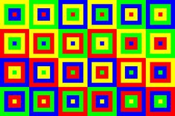 6 permutaties elk met midden rood, groen, blauw en geel | ID=07 | V=07 | Boxed van Gerhard Haberern