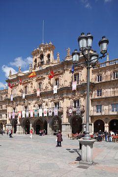 Plaza Mayor mit Rathaus , Salamanca, Castilla y Leon, Kastilien-Leon, Spanien