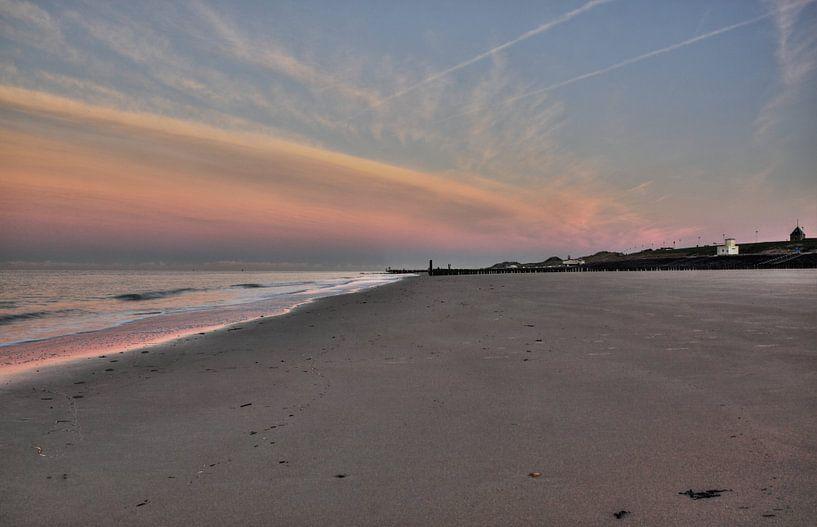 Einde van de dag op het strand van Zoutelande van MSP Canvas