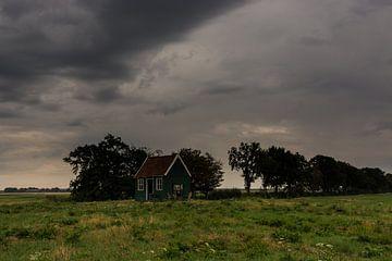 Landschaft mit Bäumen und Unterschlupf. von Adri Vollenhouw