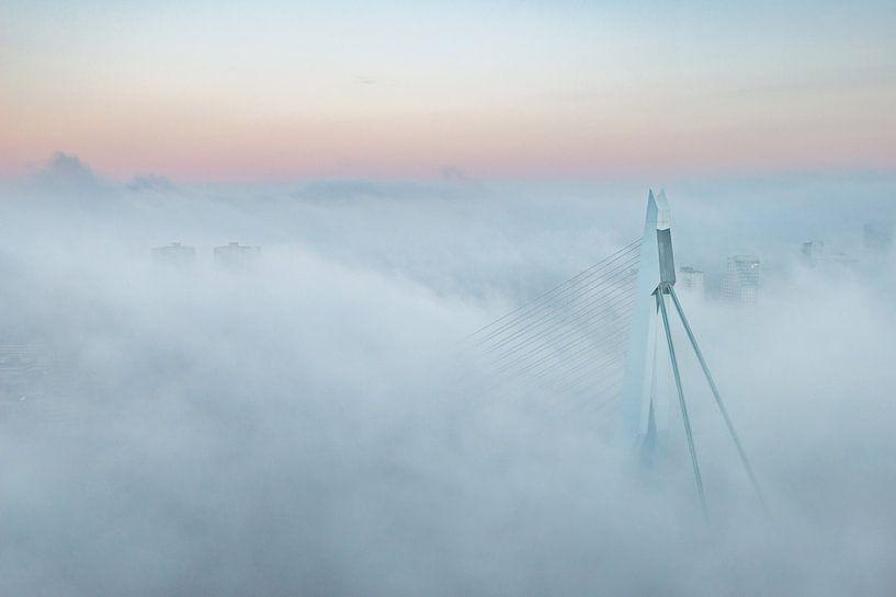 Erasmusbrug in de mist van Ronne Vinkx