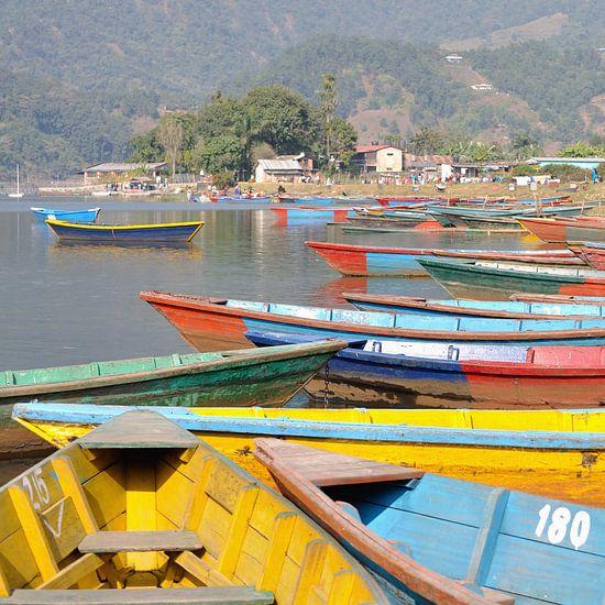 Kleurrijke boten bij het Phewa meer te Pokhara (vierkant) van Wiljo van Essen
