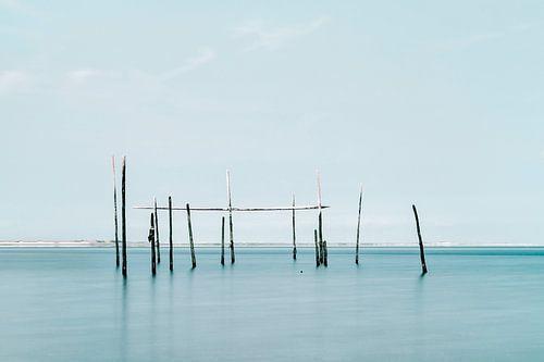 Photo minimaliste de la mer avec des filets à anguilles