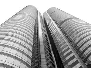Wolkenkrabber in Hong Kong, zwart-wit van