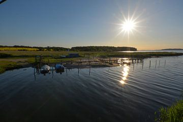 De monding van de Rügen Bodden vanaf het Wreechmeer, Putbus op het eiland Rügen van GH Foto & Artdesign