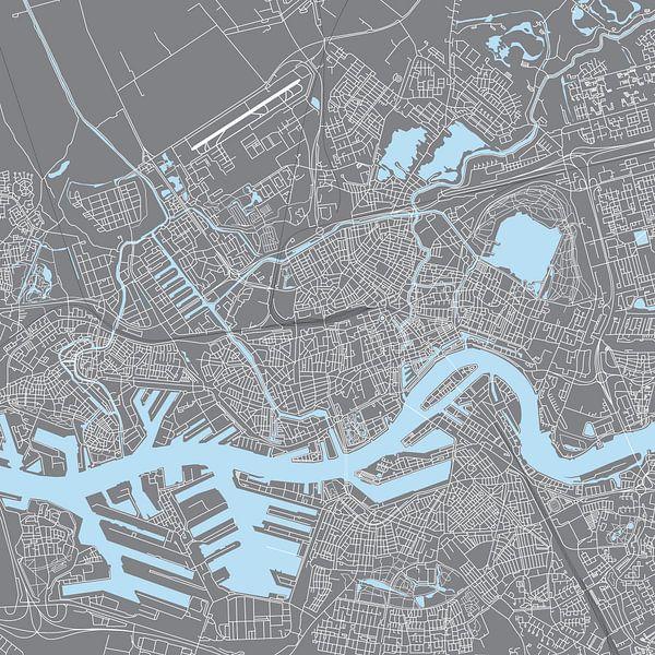 Rotterdam | Stadskaart | Vierkant Grijs en Blauw van - Wereldkaarten.shop -