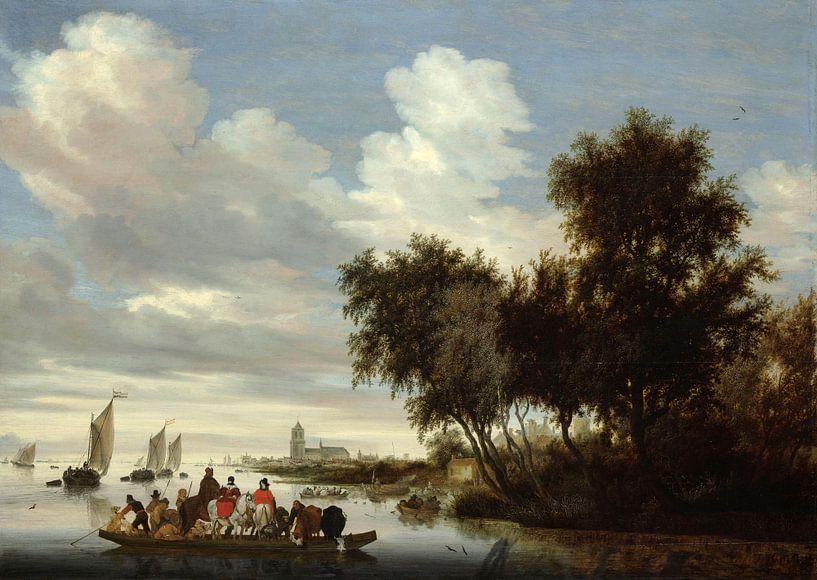 Flusslandschaft mit einer Fähre, Salomon van Ruysdael von Meesterlijcke Meesters