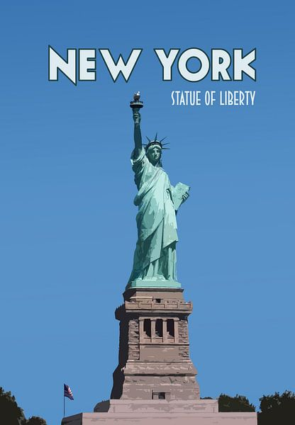 Vieille affiche Statue de la Liberté, New York sur Discover Dutch Nature