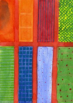 Large rectangle Fields between red Grid  van