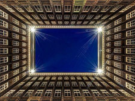 Hamburg - Chilehaus bei Nacht