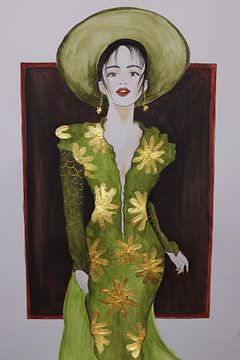 Vrouw in groene jurk met gouden accenten van Iris Kelly Kuntkes