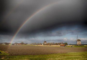 Schermerhorn molens regenboog van Evelien van der Horst