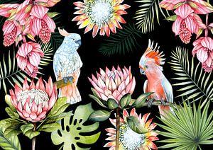 Papageien tropische Blumen