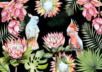 Papageien tropische Blumen von Geertje Burgers