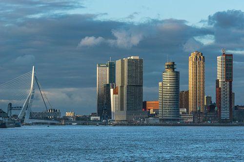 Rotterdamse skyline in de avondzon.