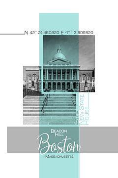 Poster Art BOSTON New State House | turkoois van Melanie Viola