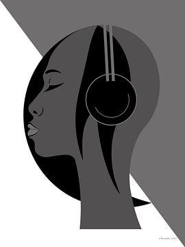 Jazz (Grau) von Ton van Hummel (Alias HUVANTO)