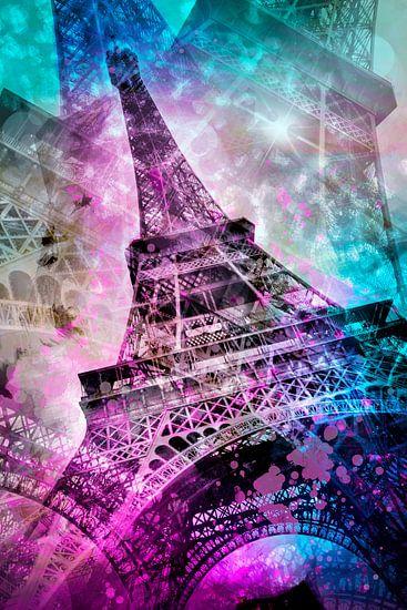 Pop Art Eiffeltoren van Melanie Viola