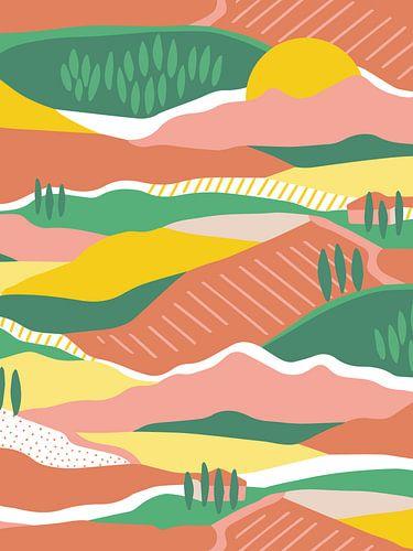 Zomer in Toscane - abstract landschap van Karin van der Vegt