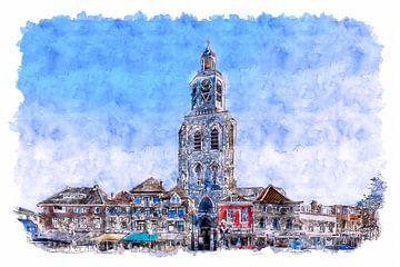 Der Pfefferbus auf dem Grote Markt in Bergen op Zoom (Aquarell) von Art by Jeronimo