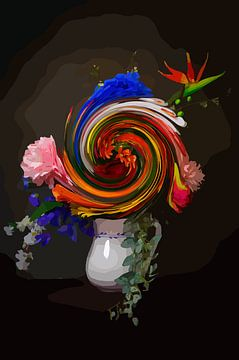 """Nature morte avec un bouquet de fleurs """"Swirl it up"""" sur The Art Kroep"""