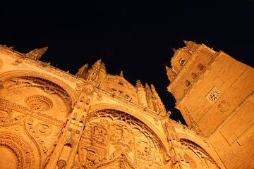 Alte und Neue Kathedrale bei Nacht, Salamanca, Kastilien-León, Spanien