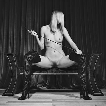 Photograph vintage kinky fetish scene with a nude or naked woman sitting on a bench and she is holdi van william langeveld
