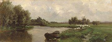 Carlos de Haes - Ein Fluss, ein Boot am Fluss, eine alte Landschaft.