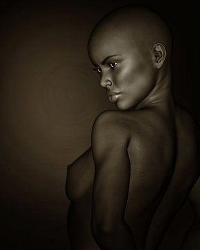 Frauen-Porträts - Schwarzweiss-Profil eines nackten afrikanischen Mädchens von Jan Keteleer