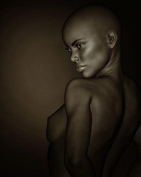 Vrouw Portretten - Zwart-wit Profiel Van Een Naakt Afrikaans Meisje van Jan Keteleer