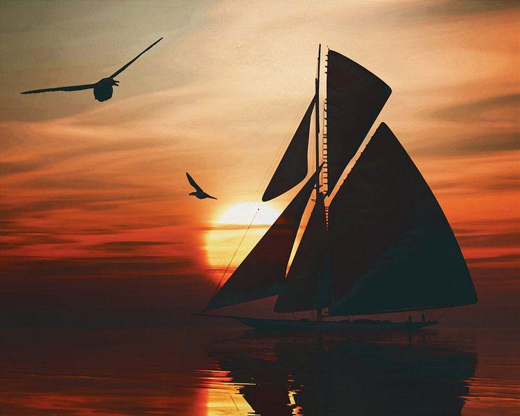 Zeilboot bij zonsondergang 2 van Jan Keteleer