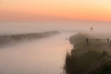 Mistige ochtend langs het water van Michel Knikker