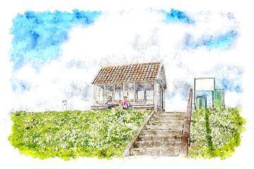 Het praathuis, bekend als het Leugenkot, bij Sint Philipsland (Zeeland) (aquarel) van