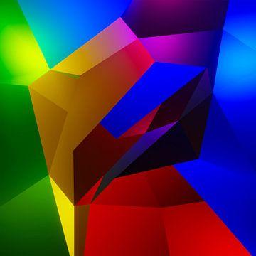 Kleurrijk kubistisch 3d kunstwerk met een figuur die de zon aanbid van Pat Bloom - Moderne 3d en abstracte kubistiche kunst