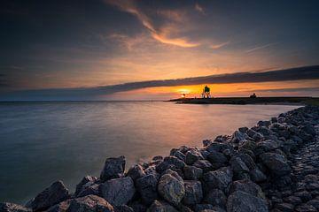 Zonsondergang aan het Ijsselmeer van Damien Franscoise