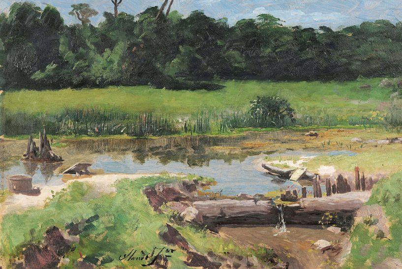 José Ferraz de Almeida Júnior~Rivier landschap [Landschap Rivier] van finemasterpiece
