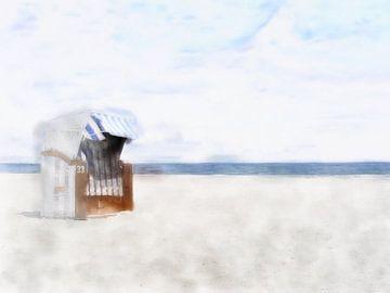 Strandstoel in zacht licht van
