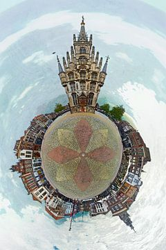Bolpanorama van de Markt in Gouda