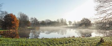 herfststemming met grondmist bij een meer, Fischerhude, Nedersaksen, Duitsland, Europa van Torsten Krüger
