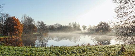 Herbststimmung mit Bodennebel an einem See, Fischerhude, Niedersachsen, Deutschland, europa
