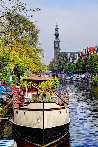 Westerkerk Amsterdam met boot