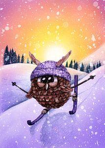 Owl on Skis von Marloes Boer