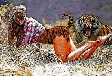 meisje met tijger-girl with Tiger-fille avec Tiger-Mädchen mit Tiger van