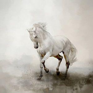 Wit Paard In Abstract Aquarel Landschap Schilderij
