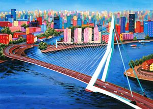 Schilderij Rotterdam met Erasmusbrug van